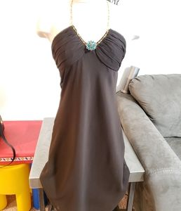 Chocolate brown, gold chain, jeweled detail dress